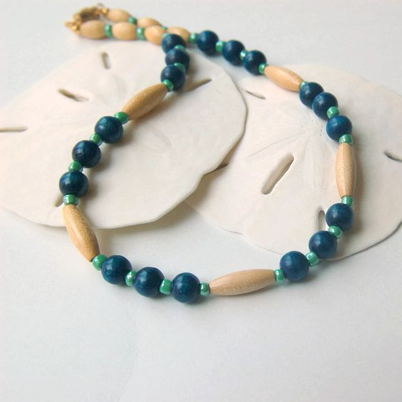 Blue Wooden Beads Choker Necklace Wood Beads Beaded Choker Wooden Beaded Necklace Wood Bead Necklace Chunky Wood Necklace by LovesShellsBeads on Etsy