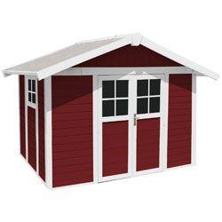 Abri de jardin Déco 7.5 PVC rouge + kit d'ancrage
