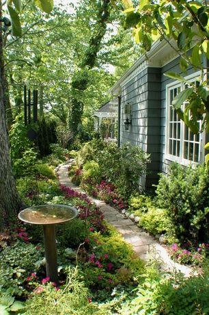 Traditional Landscape/Yard with Campania international williamsburg tea table cast stone bird bath, Shade garden, Bird bath