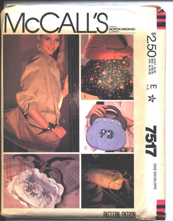 Vintage McCalls 7517 pattern Hand Bags with Bermuda Bag - changeable cover, 3 sizes/styles of Shoulder Bags