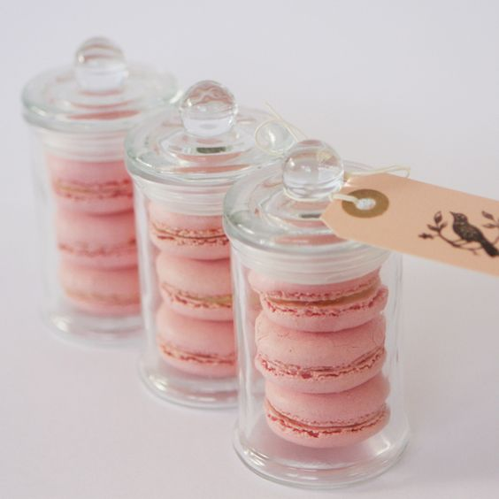 ♥ Macaroon mini jar bonbonnieres | Imagine a selection of different coloured macaroons spread throughout the tables!: