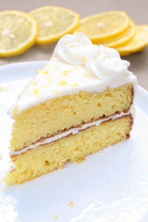 The BEST homemade Lemon Cake with a light Lemon Buttercream frosting. | Tastes Better From Scratch