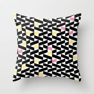 Black Pattern  Throw Pillow by Leandro Pita - $20.00