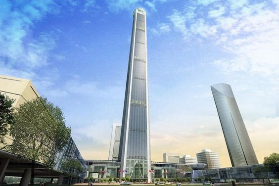 Image shows the rendering of the Goldin Finance 117 Tower looking from the ground level. Tianjin, China