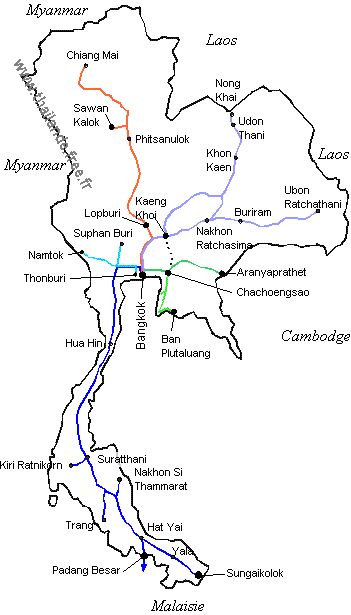 Les lignes de train en Thaïlande