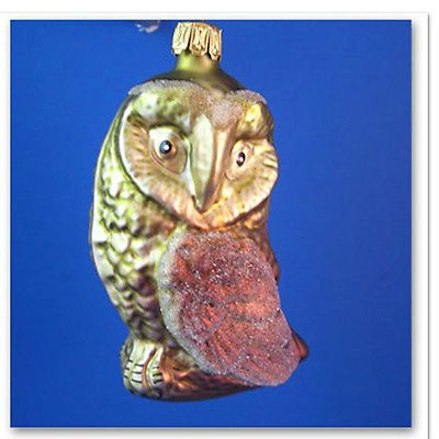 Barn Owl Blown Glass Christmas Ornament Blown Tree Bird Animal Germany 027010