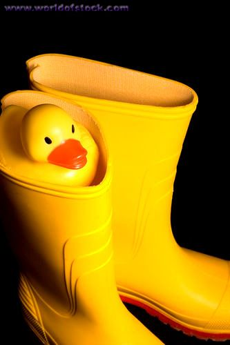 .Yellow rubber boots for jumping in those spring rain puddles