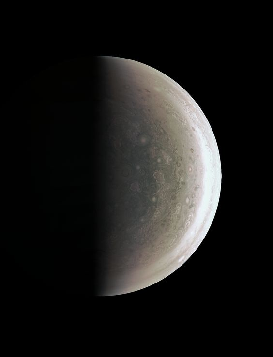 This image from NASA's Juno spacecraft provides a never-before-seen perspective on Jupiter's south pole.  The JunoCam instrument acquired the view on August 27, 2016, when the spacecraft was about 58,700 miles (94,500 kilometers) above the polar region. Unlike the equatorial region's familiar structure of belts and zones, the poles are mottled by clockwise and counterclockwise rotating storms of various sizes, similar to giant versions of terrestrial hurricanes.