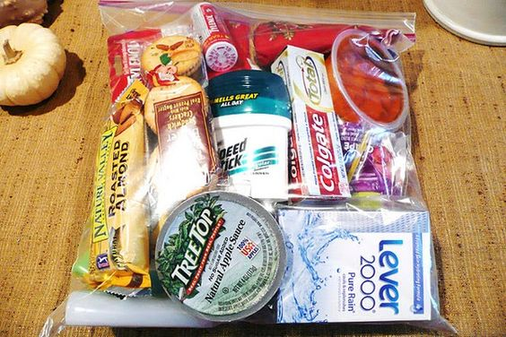 Blessing Bags - keep a couple in the car so when you see someone who is struggling (ie begging) you can give them a little something.  Acts of Kindness.--- Love this so much: