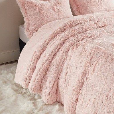 Twin Twin Xl Leena Shaggy Faux Fur Comforter Set Blush In 2020 Bed Comforter Sets Comforter Sets Fur Comforter