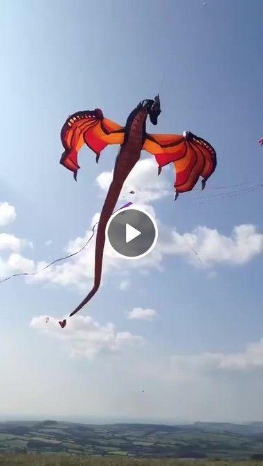 Criança soltando pipa em forma de dragão