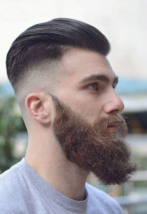 22 back undercut haircut with beard for Mens 2018 2019