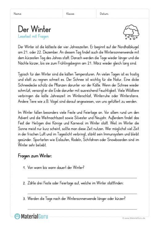 Arbeitsblatt Lesetext Zum Winter Mit 3 Fragen Deutsch