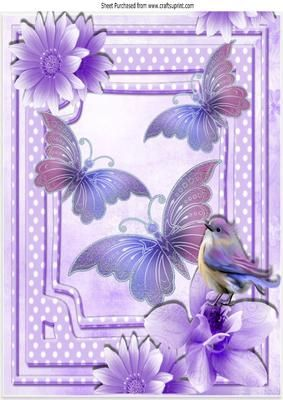 Pretty lilac butterflies flowers and bird A4 on Craftsuprint - Add To Basket!: