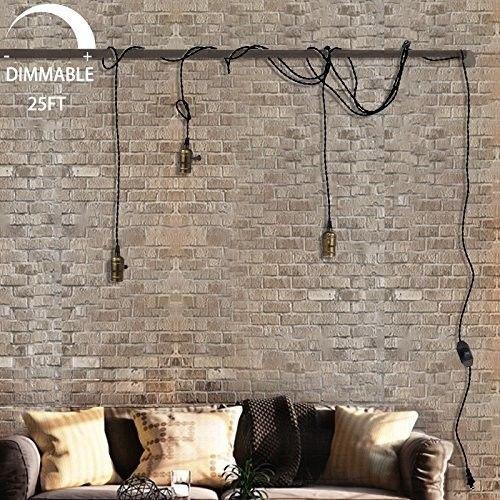 1 Light Portable Hanging Plug In Pendant 3 Socket Swag Hooks Ceiling Lamp Top Plug In Hanging Light Vintage Pendant Lighting Plug In Pendant Light