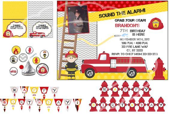 Fire truck birthday Fireman Birthday party Firefighter birthday party by blueangeldigitals on Etsy https://www.etsy.com/listing/167898251/fire-truck-birthday-fireman-birthday