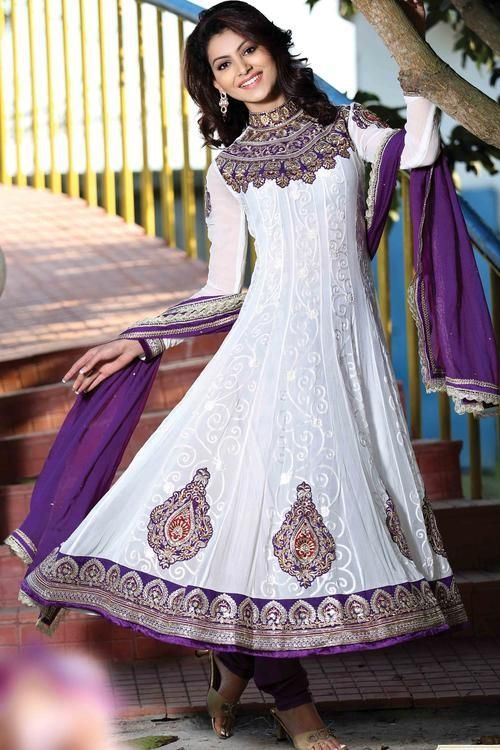 Express Sale..!!! White Net & Faux Georgette Anarkali Suit Rs
