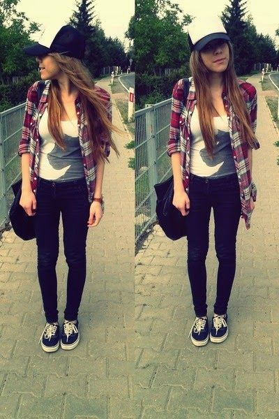 cute outfit with vans. Plaid shirt, black skinny jeans, sneakers, baseball cap.: