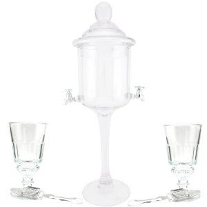 Deluxe Absinthe Accessories Kit by KegWorks. $119.95. Prepare for the ultimate absinthe experience with this exclusive collection.. Includes (1) glass absinthe fountain, (2) absinthe glasses, and (2) absinthe spoons.. Everything you need to perform the traditional French absinthe ritual.. Classic Pontarlier style glasses designed especially for preparing & serving absinthe.. Absinthe fountain made of mouth blown glass with plastic spouts.. Prepare for the ultimate absinthe expe...