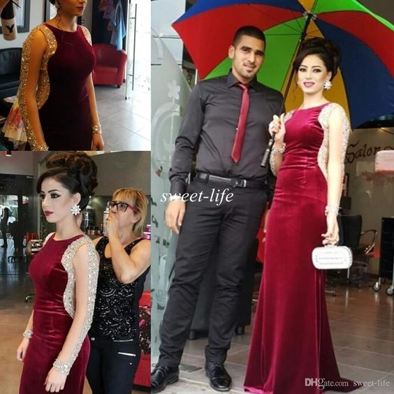 Illusion Long Sleeves Evening Dresses Burgundy Velvet Luxury Crystals Jewel Floor Length 2016 Plus Size Formal Celebrity Dresses Prom Gowns Online with $136.84/Piece on Sweet-life's Store | DHgate.com