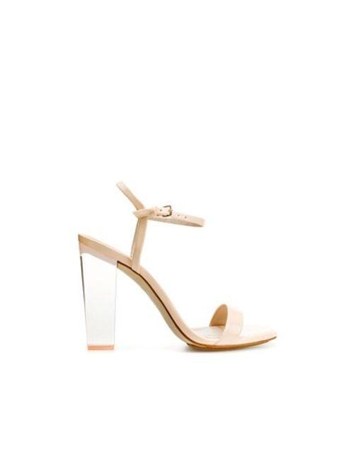 Zara: Clear Heel Nude Strappy Sandal - $127.00 | Moniqua Style ...