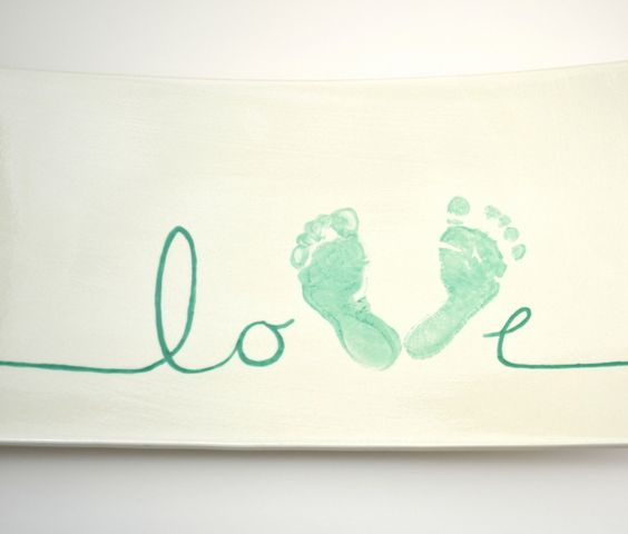 How to Paint Pottery: Love Footprint Platter