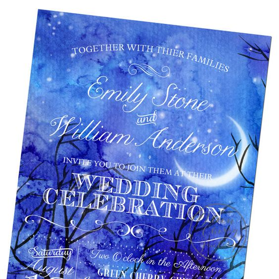Starry night wedding invitation watercolor background