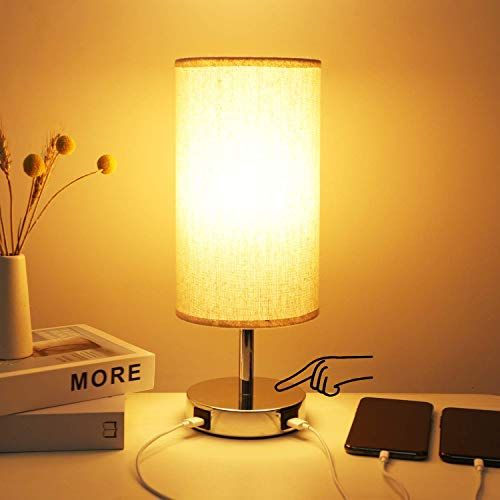 3 Way Dimmable Touch Control Table Lamp 2 Fast Charging Usb Ports Hong In Bedside Touch Lamp Safe Dc 5v Nightstand Lamp Desk Lamps For Bedroom Living Room In 2020 Touch