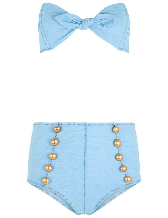 LISA MARIE FERNANDEZ Faded Denim Button Poppy Bikini. #lisamariefernandez #cloth #denim