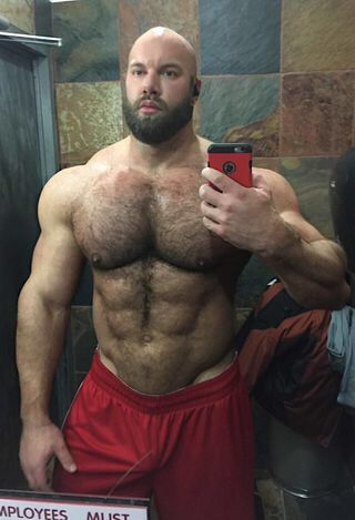Hairy chest muscle stud uniform naked