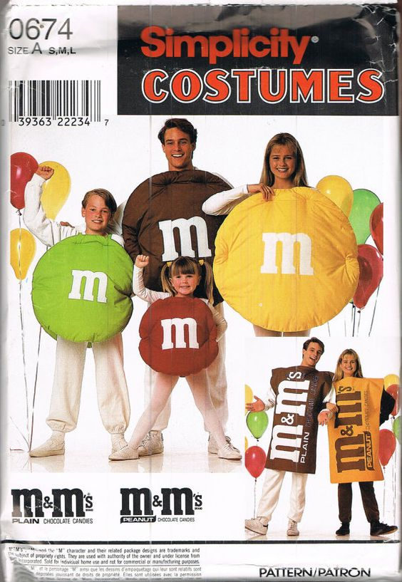 UNCUT Adult Or Child M & M's Halloween by BusyBeaverBoutique