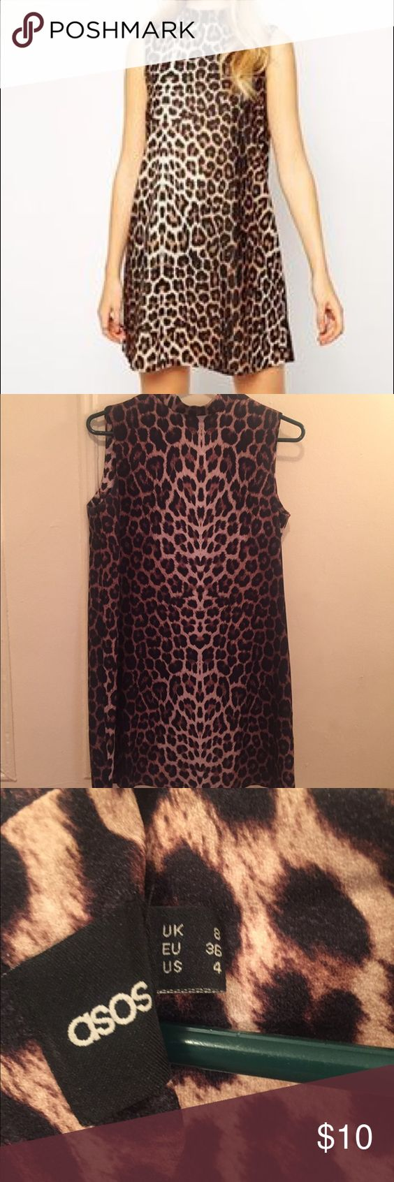 ASOS leopard print shift dress US size 4 / UK size 8. Hardly worn. ASOS Dresses Midi