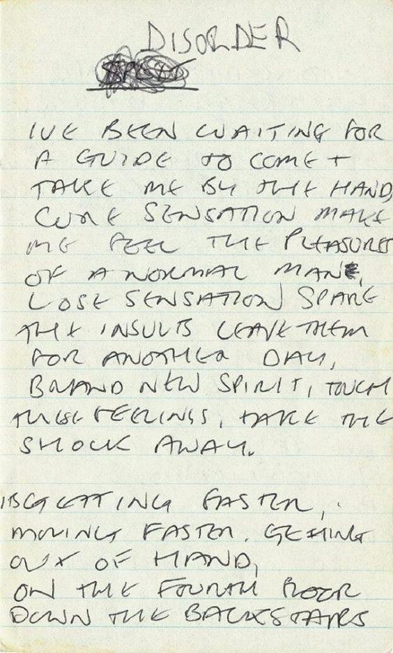 Joy Division: Handwritten lyrics by Ian Curtis for Disorder, ca 1978