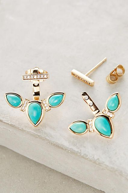 beautiful turquoise ear jackets