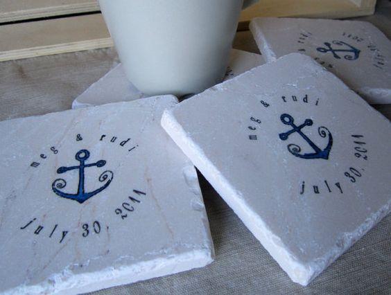 Beach Wedding Favor Coasters, Nautical Anchor,