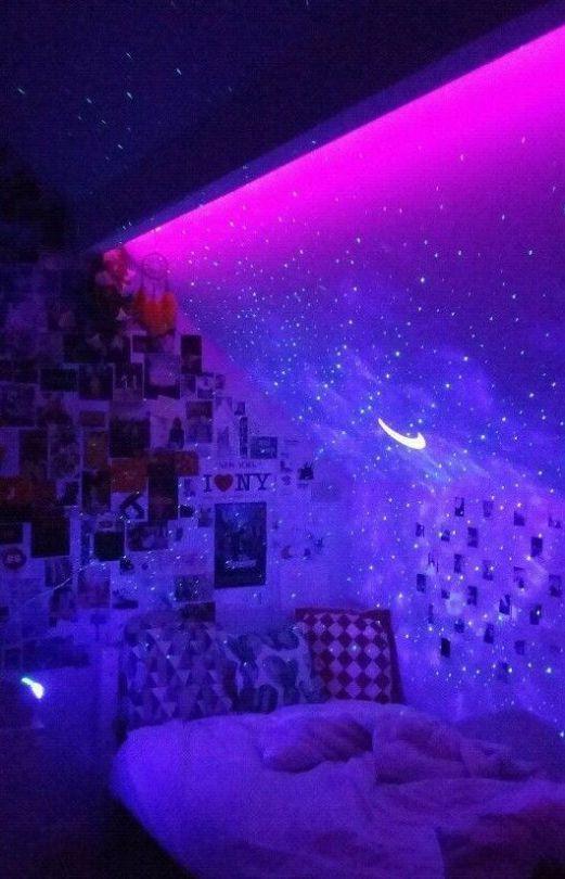 Led lights bedroom aesthetic tv
