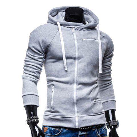 Slimming Trendy Solid Color Zipper Design Long Sleeve Polyester Hoodie For Men