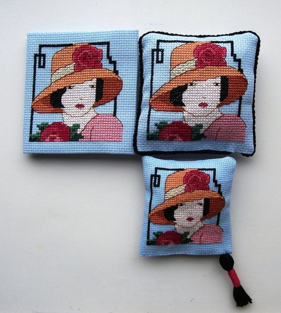 Cross Stitched Art Deco Lady by TillyandMuffinToo on Etsy, £18.00