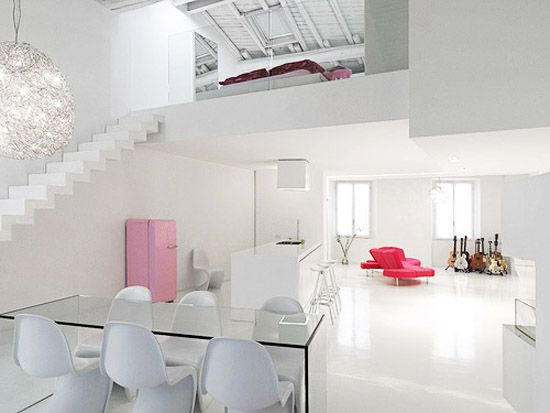 Minimalist White Interior Loft Design Ideas
