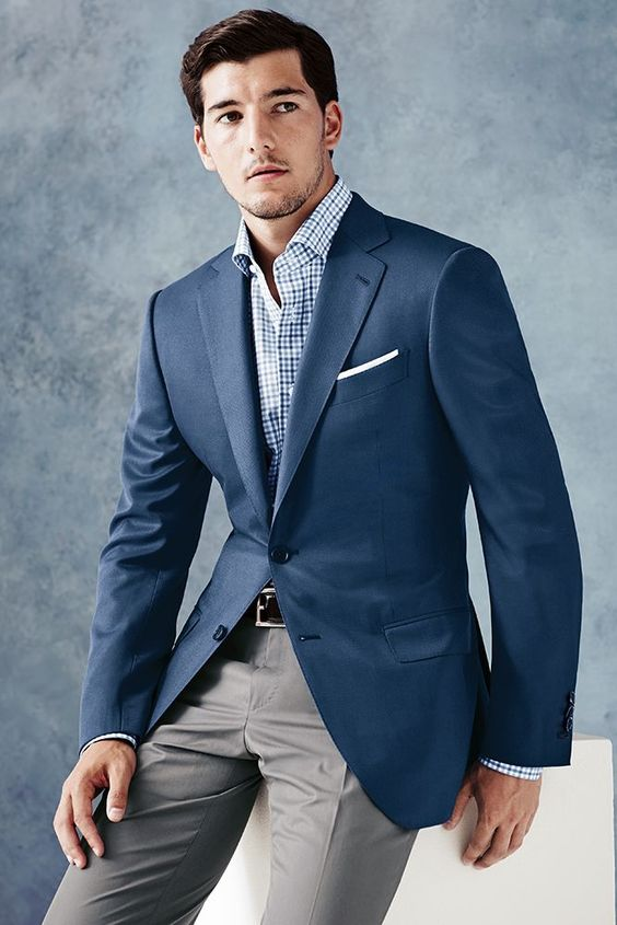 summer navy coat with gray pants - Google Search | Wedding Ideas