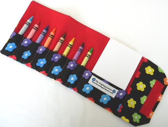 Crayon Wallet  Flowers by TheCraftingCorner on Etsy, $14.00