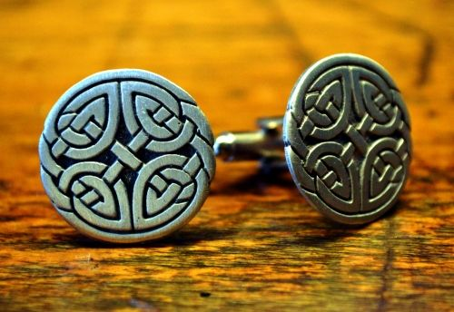 Rose Gold Gold Silver Twisted Knot Celtic Design Metal Cufflinks Cuff Links