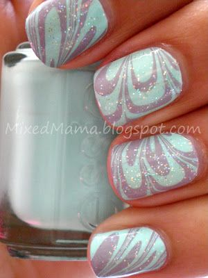 Water Marble...using Essie's Mint Candy Apple and Bangle Jangle, then a top coat of Jordana's Crystal Glitter