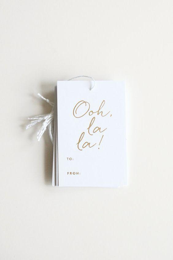 Gold Foil Gift Tags | Ooh La La | By inhauspress on Etsy, $10.00