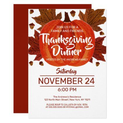 Dinner Party In Nyc Halloween 2020 Cute Fall Pumpkin Leaves Watercolor Thanksgiving Invitation