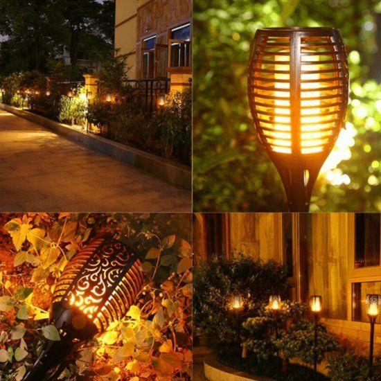 Solar Led Lamp Fakkel Met Schemersensor En Vlameffect Zonneverlichting Lampen Tuin Tuinverlichting Ideeen