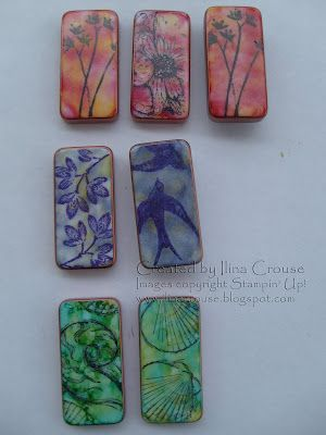 domino magnets made with alcohol inks