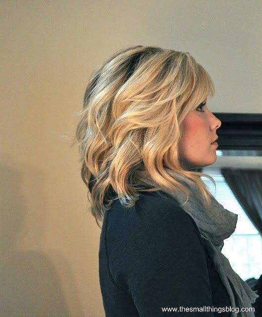 Love the bangs and loose curl. (Includes video tutorial on the bangs.)