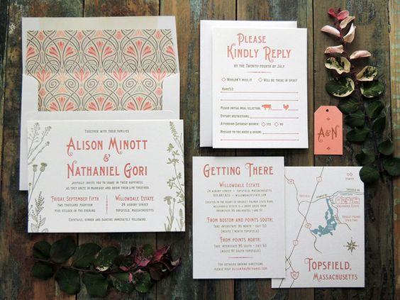 Oh So Beautiful Paper: Alison + Nathaniel's Art Nouveau Garden Wedding Invitations