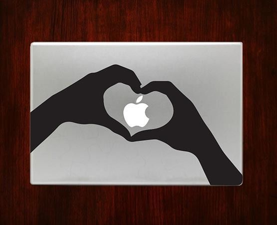 Heart Apple Hand Love Mac Unique Decals Stickers For Macbook 13 Pro Air Decal #RusticDecal